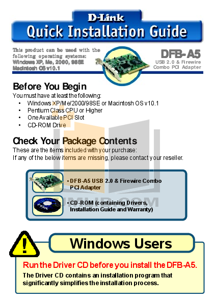 pdf for D-link Other DFB-A5 manual