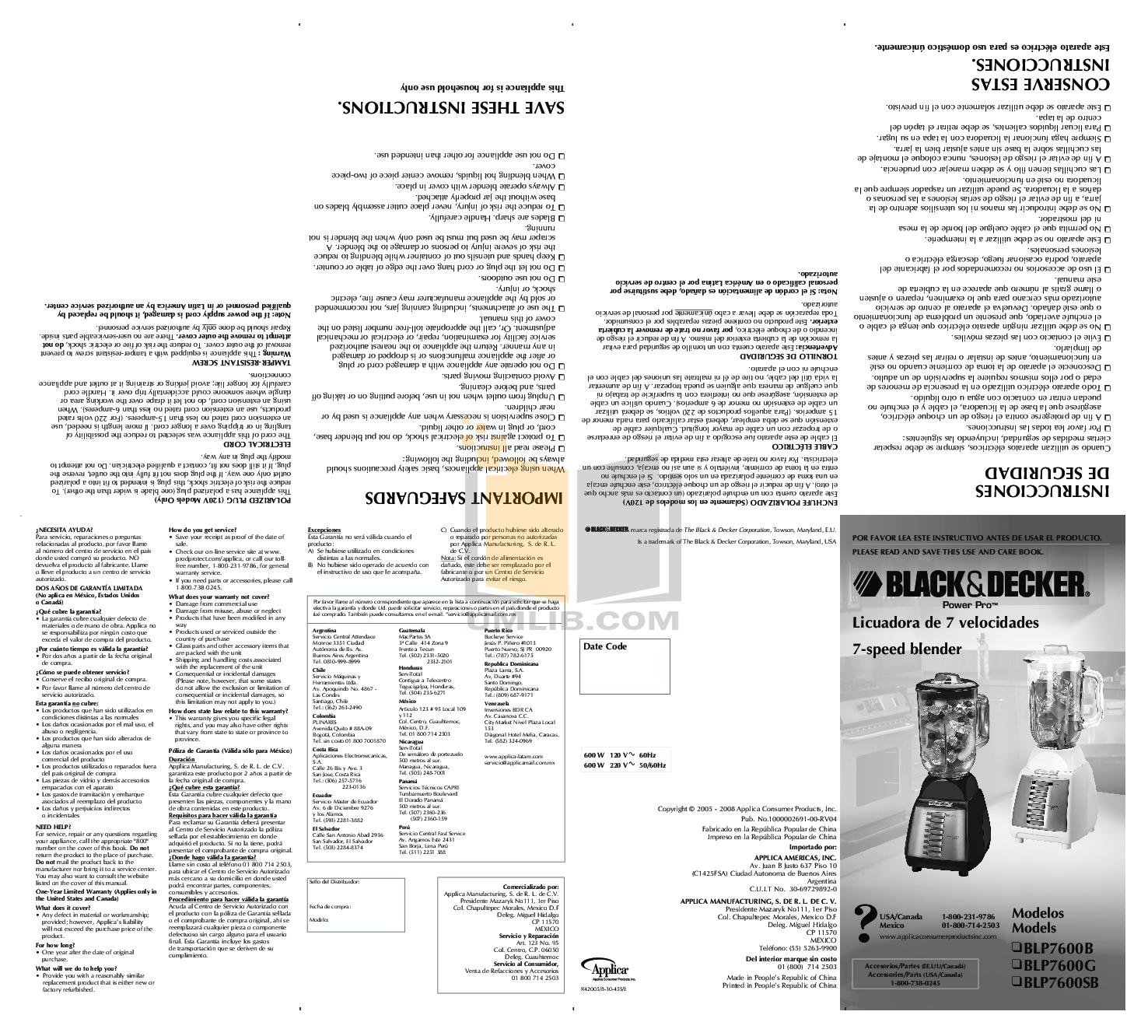 pdf for BlackAndDecker Blender BLP7600B manual