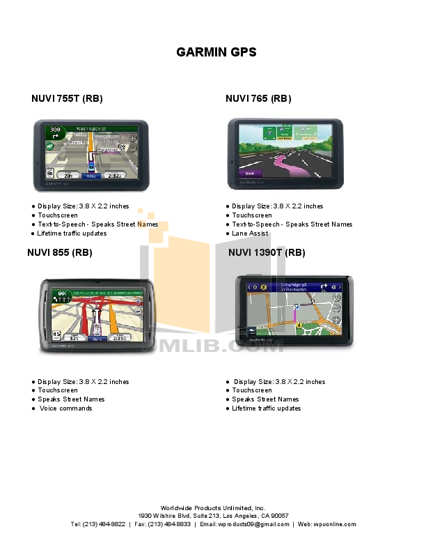 PDF manual for Garmin GPS Nuvi 1450