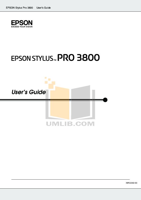 pdf for Epson Printer Stylus Pro 3800 manual