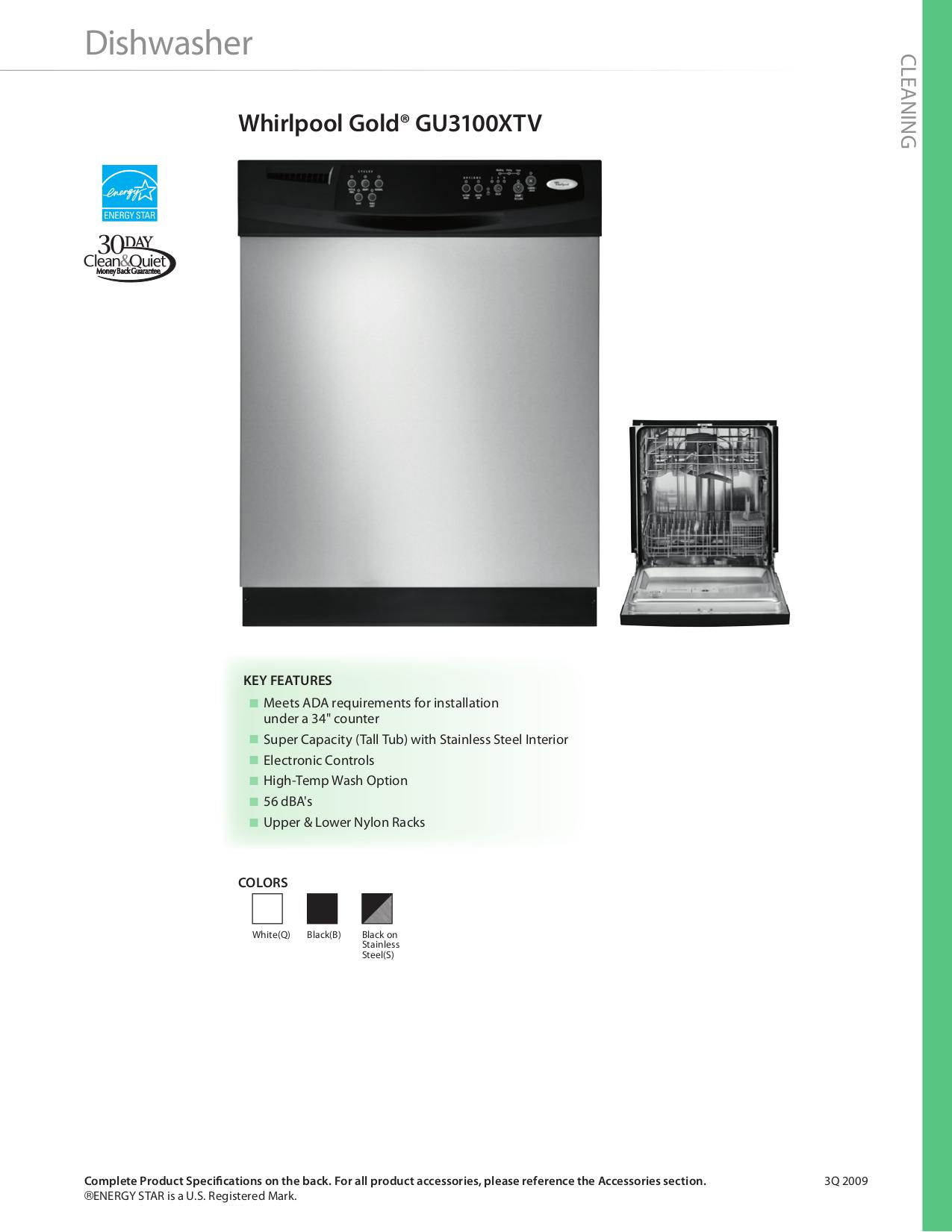 pdf for Whirlpool Dishwasher GU3100VXTB manual