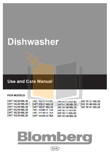 pdf for Blomberg Dishwasher DWT15210 manual