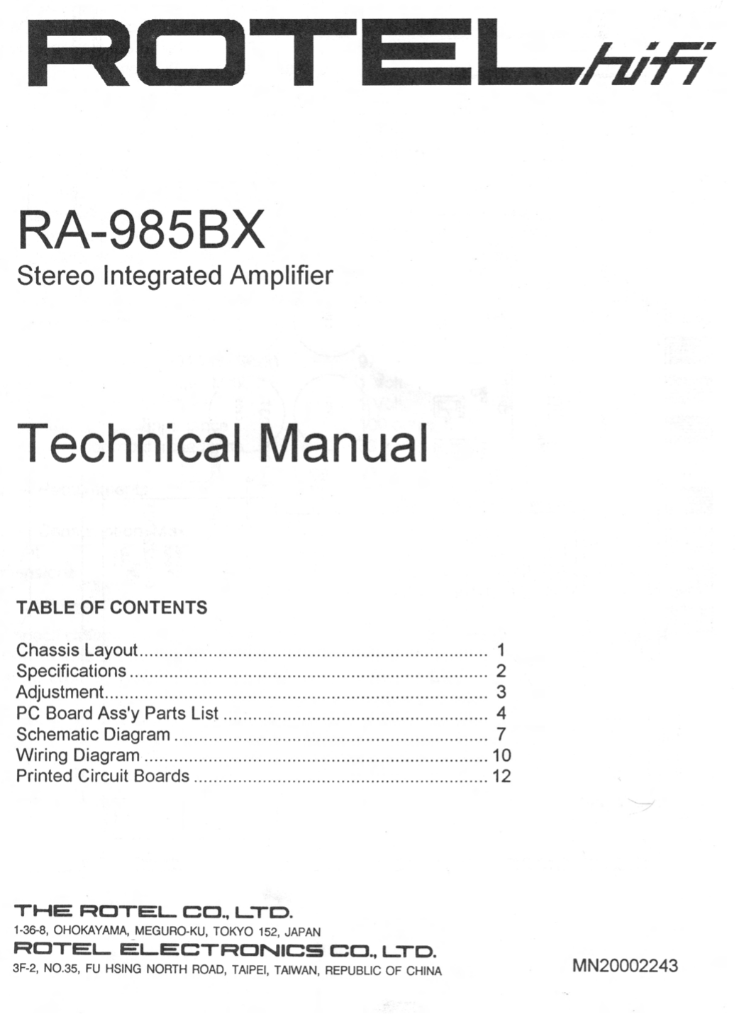 pdf for Rotel Amp RA-985BX manual