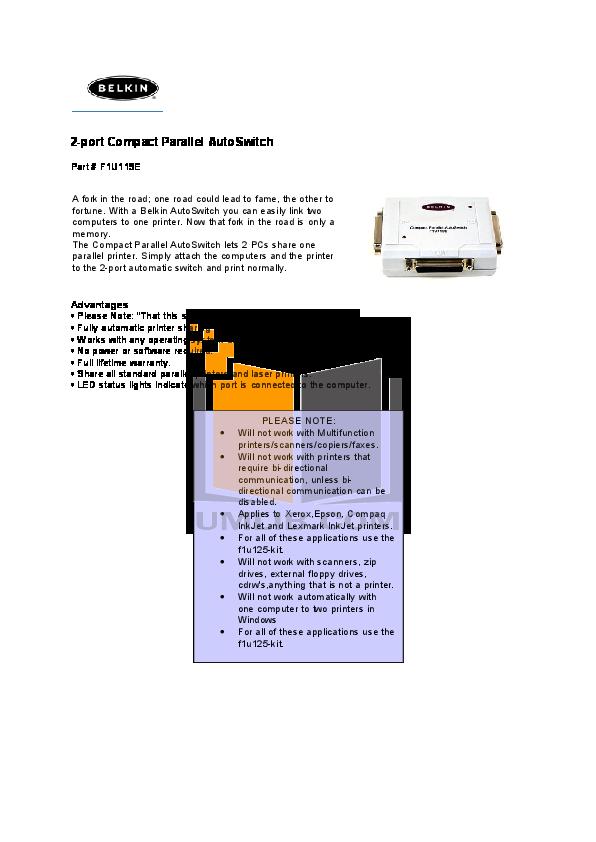 pdf for Belkin Switch F1U125-KIT manual
