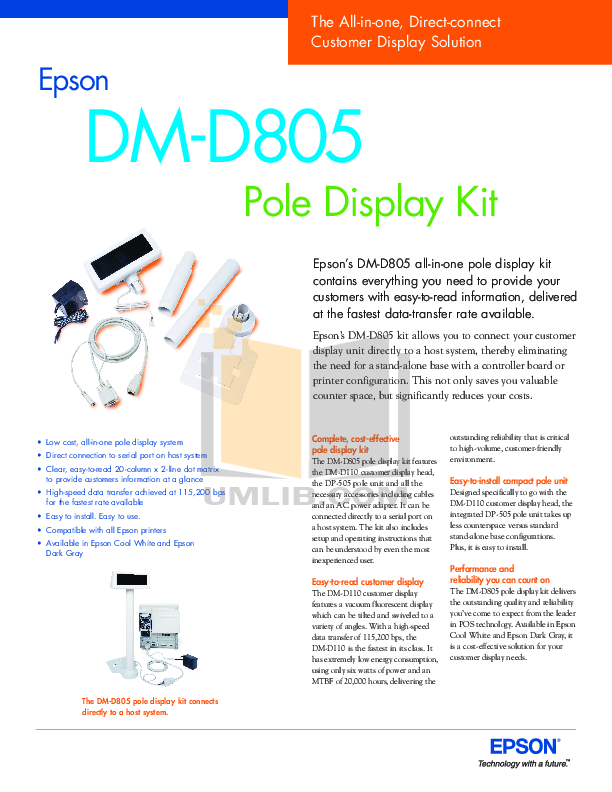 pdf for Epson Monitor DM-D805 manual