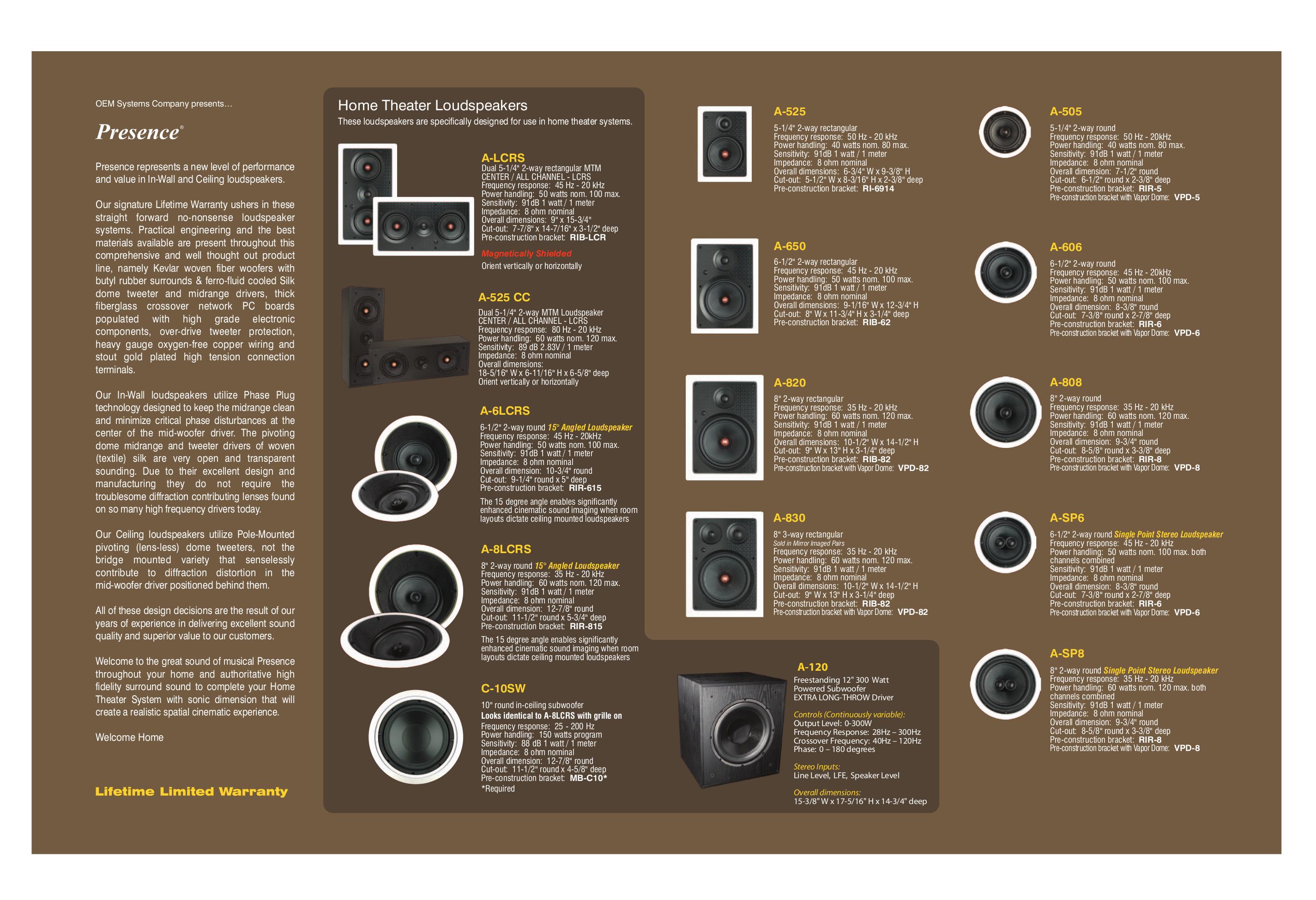 pdf for OEM Speaker A-SP8 manual