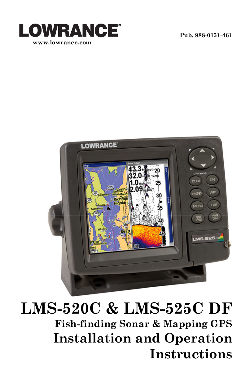 pdf for Lowrance GPS LMS-520C manual