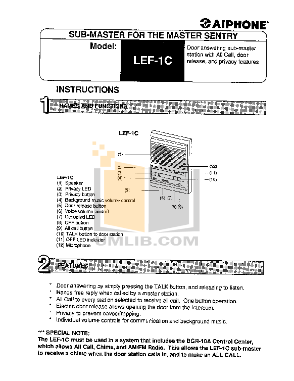 pdf for Aiphone Other LEF-1C Intercoms manual
