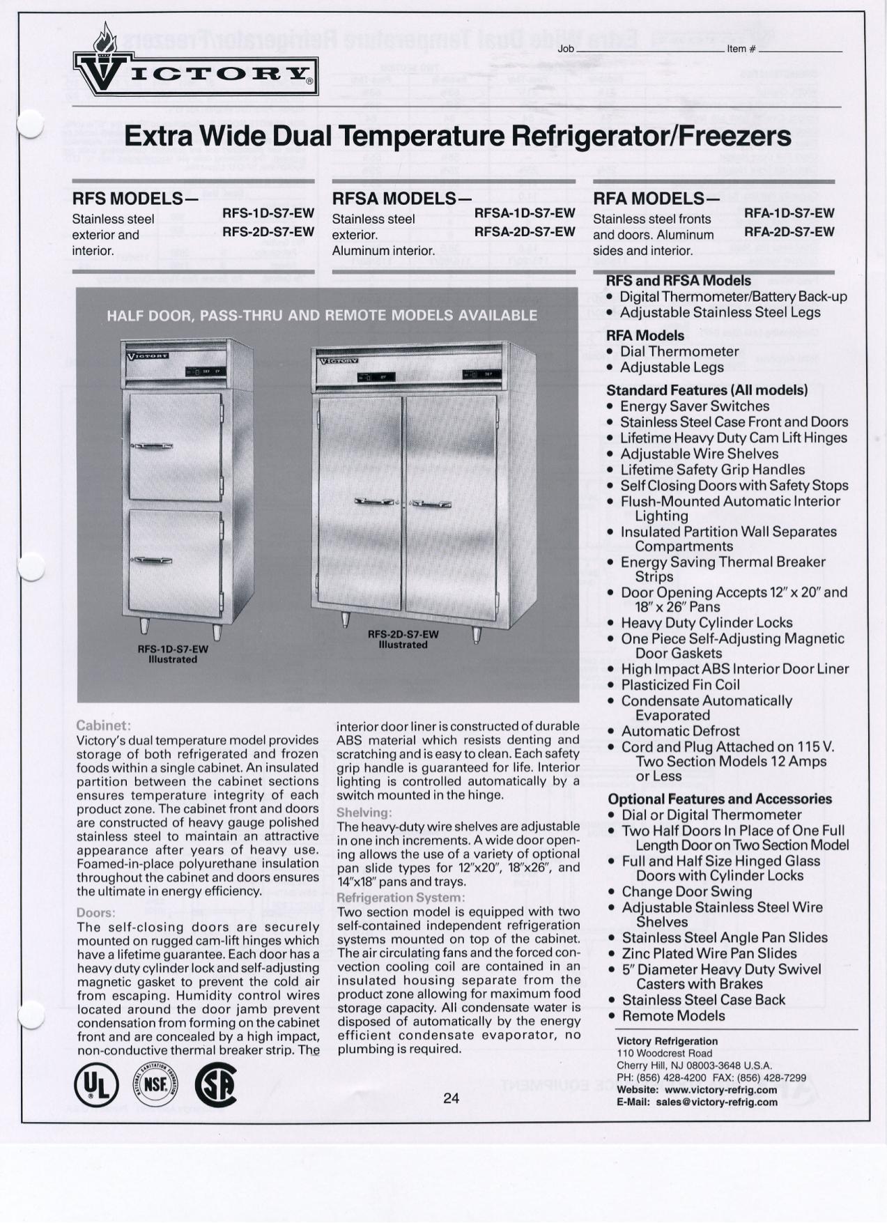 pdf for Victory Freezer RFA-2D-S7 manual