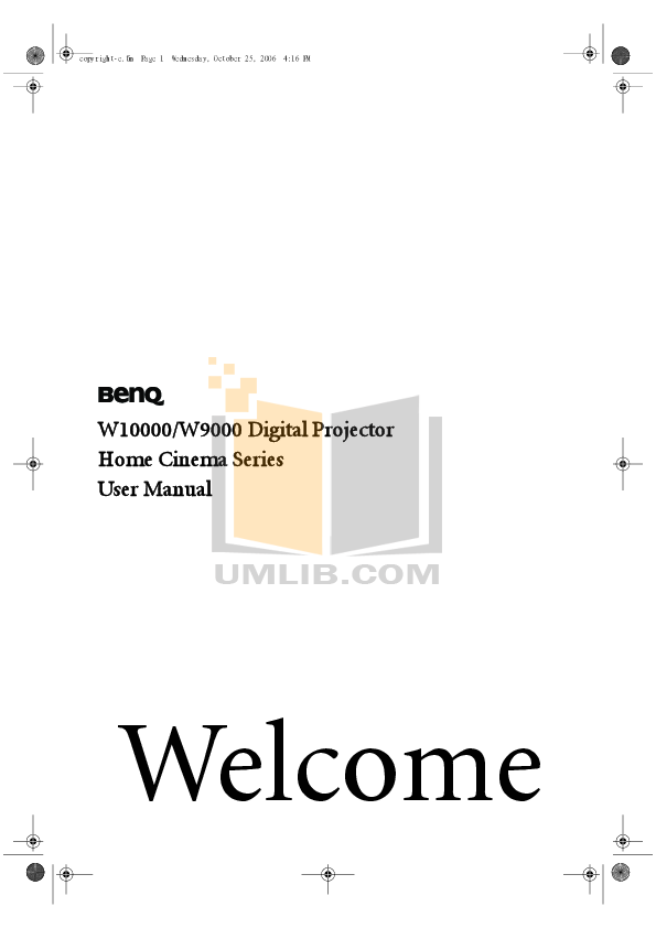 pdf for Benq Projector W9000 manual