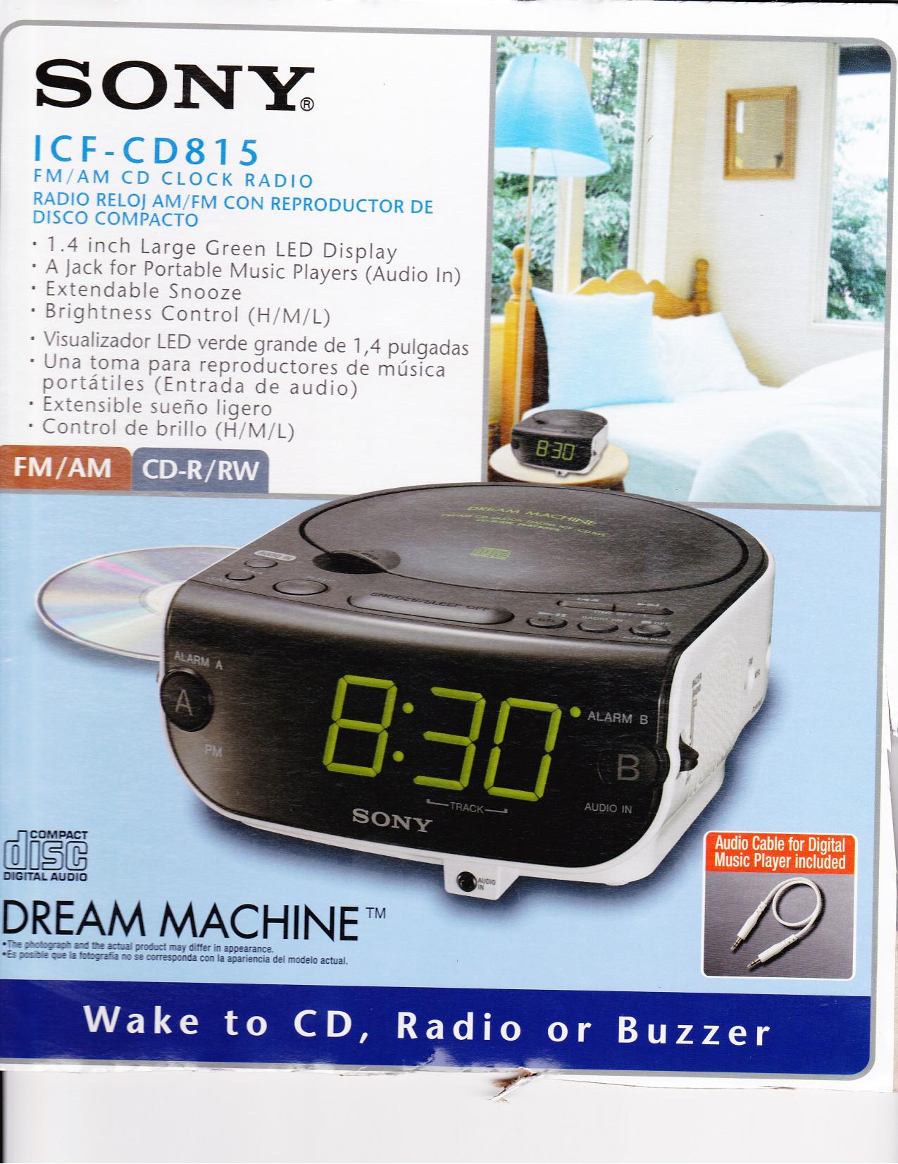 Sony Dream Machine Alarm Clock Icf Cd815 Manual Data Wiring Diagrams