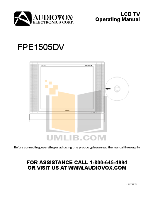pdf for Audiovox TV FPE1505DV manual