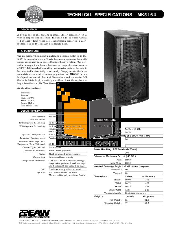 pdf for Eaw Speaker System MK5164e manual