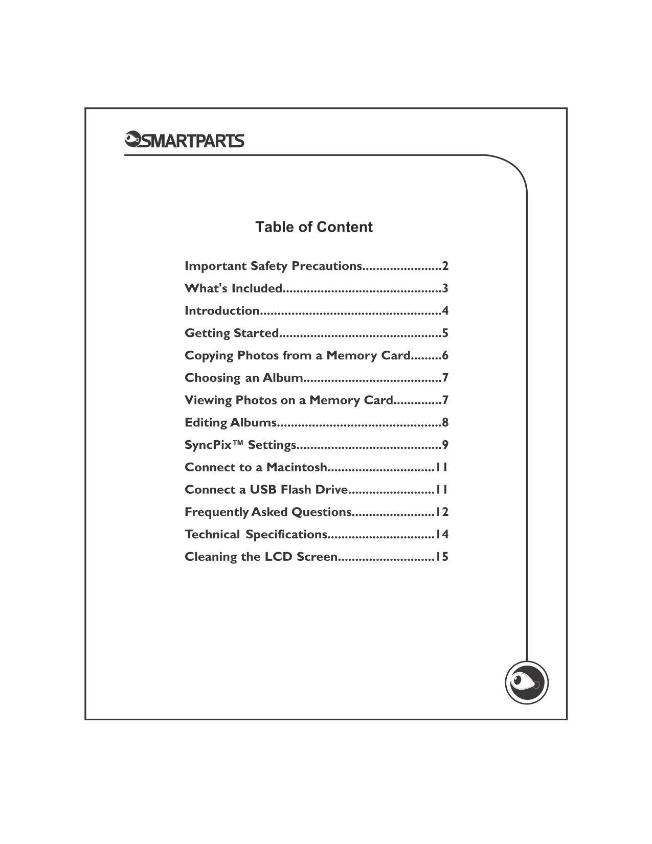 Smartparts Digital Picture Frame Manual - Page 5 - Frame Design ...