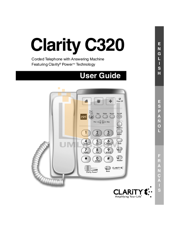 pdf for Clarity Telephone WR100 manual