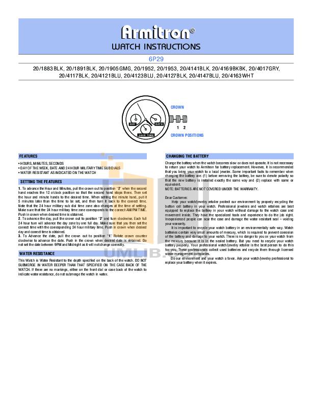 Armitron Watch 6P89 pdf page preview