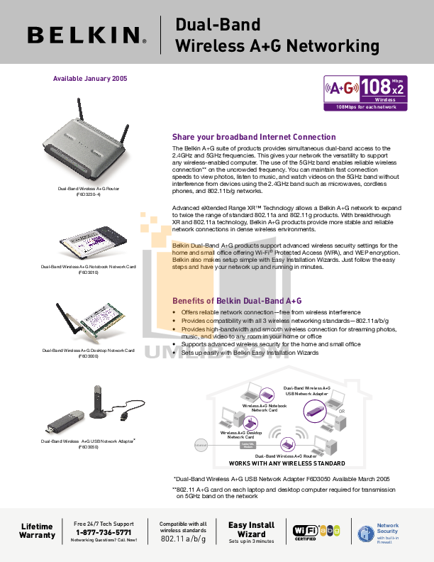 pdf for Belkin Router F6D3000 manual
