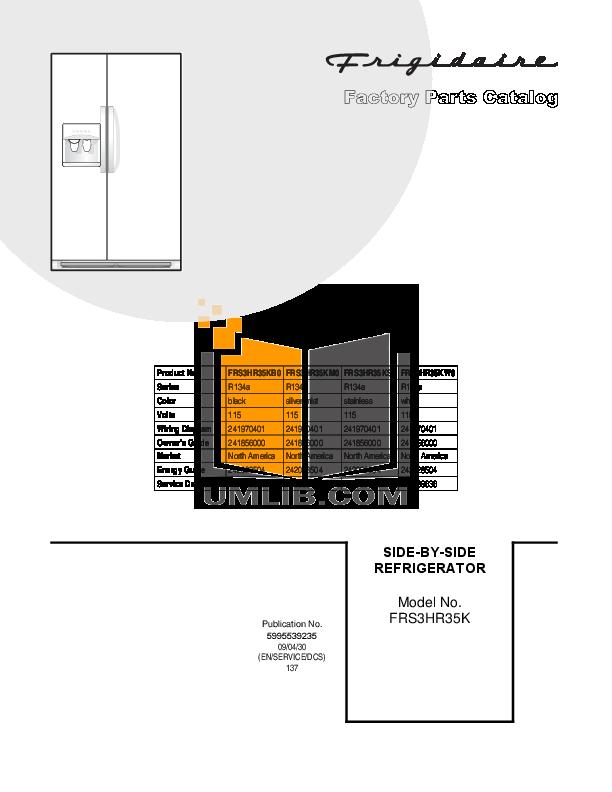 pdf for Frigidaire Refrigerator FRS3HR35K manual