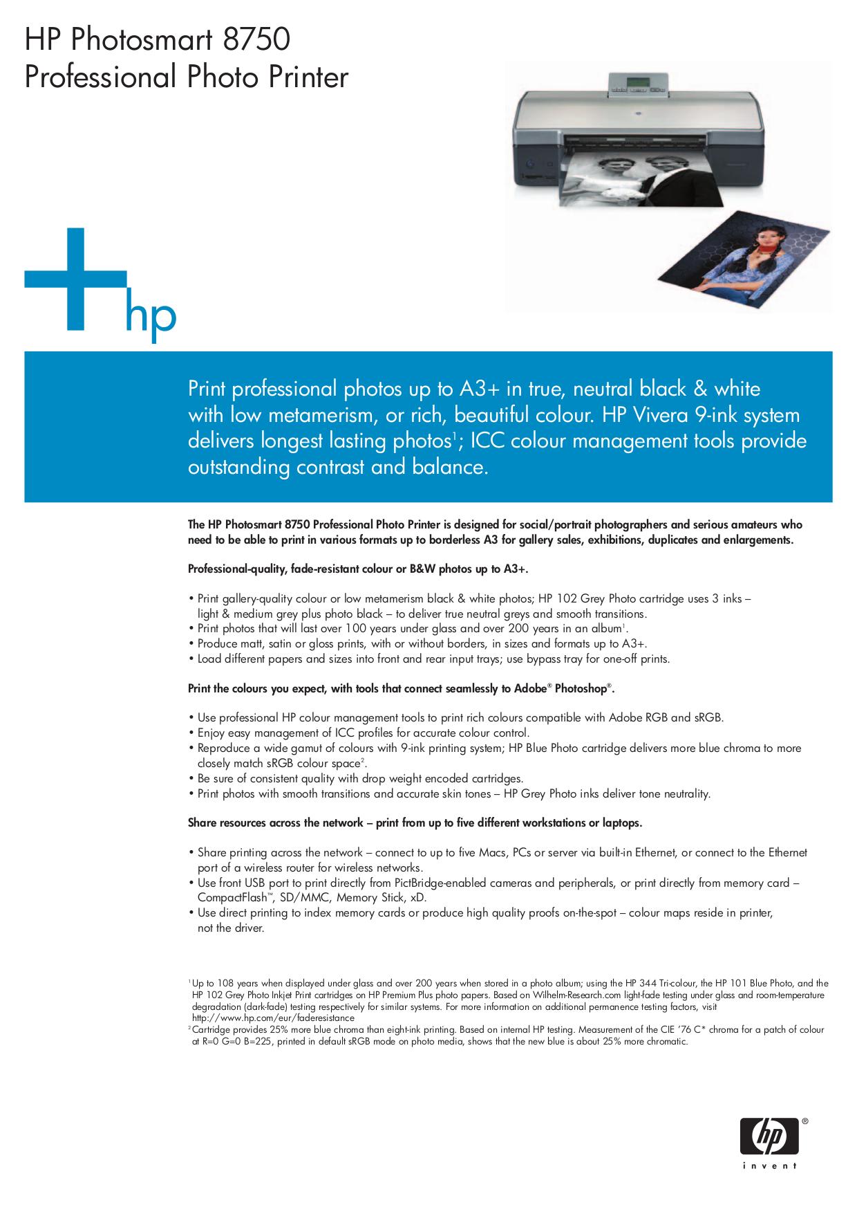 pdf for HP Printer Photosmart 8750 manual