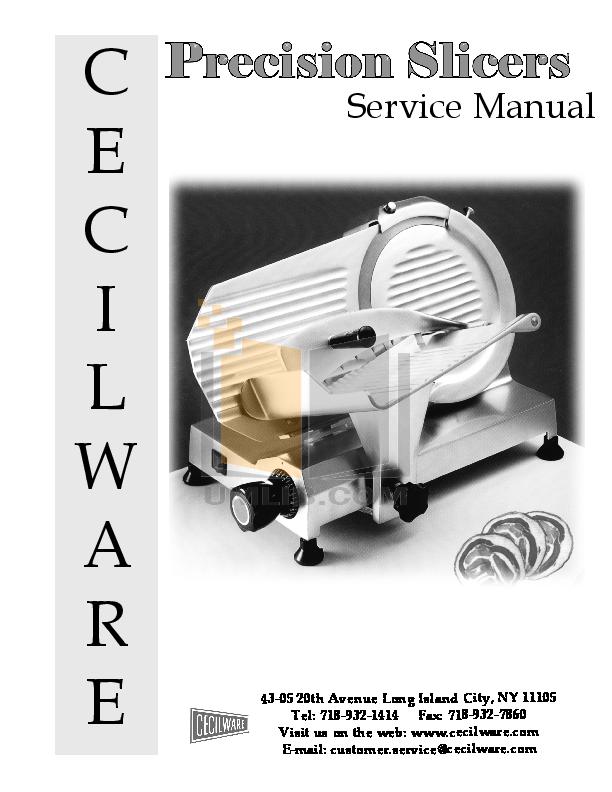 pdf for Cecilware Other EPS-9 Slicers manual