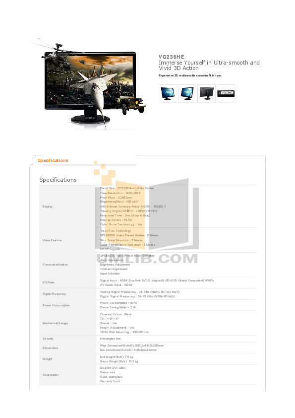 pdf for Asus Monitor VG236HE manual