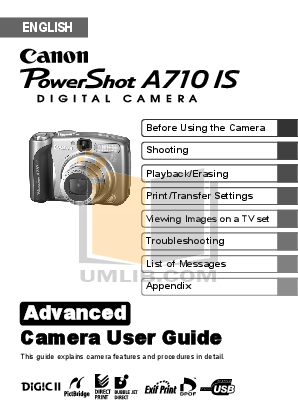 pdf for Canon Digital Camera Powershot A710 IS manual