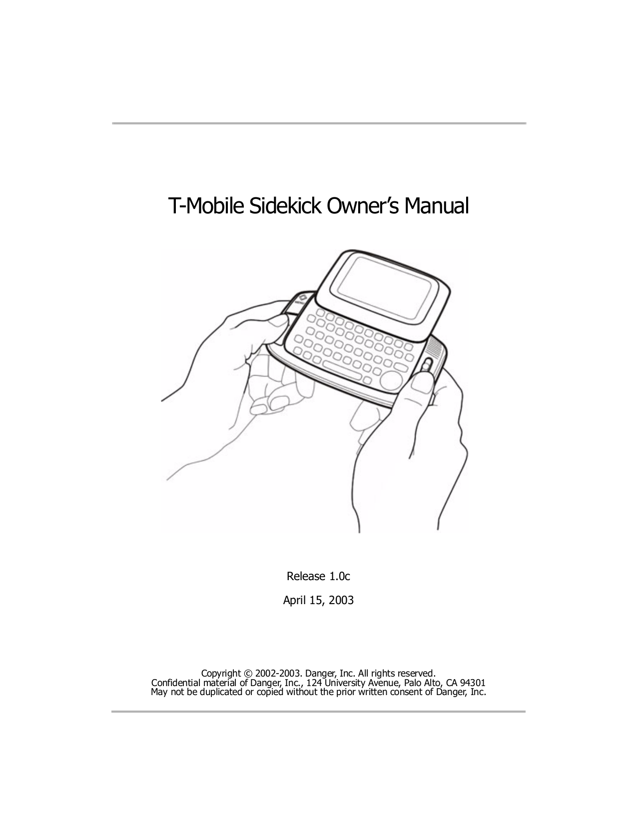 pdf for T-Mobile Cell Phone Sidekick 3 manual
