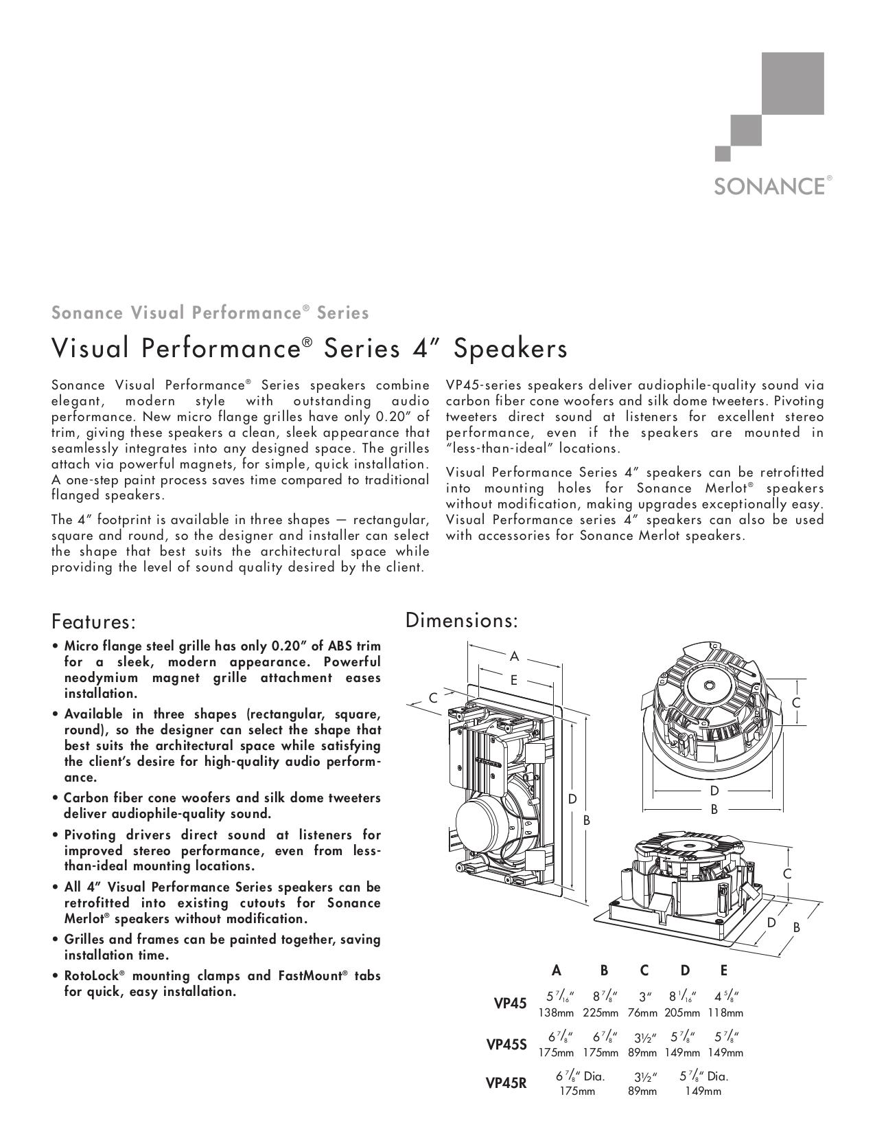 download free pdf for sonance visual performance vp45r speaker manual rh umlib com
