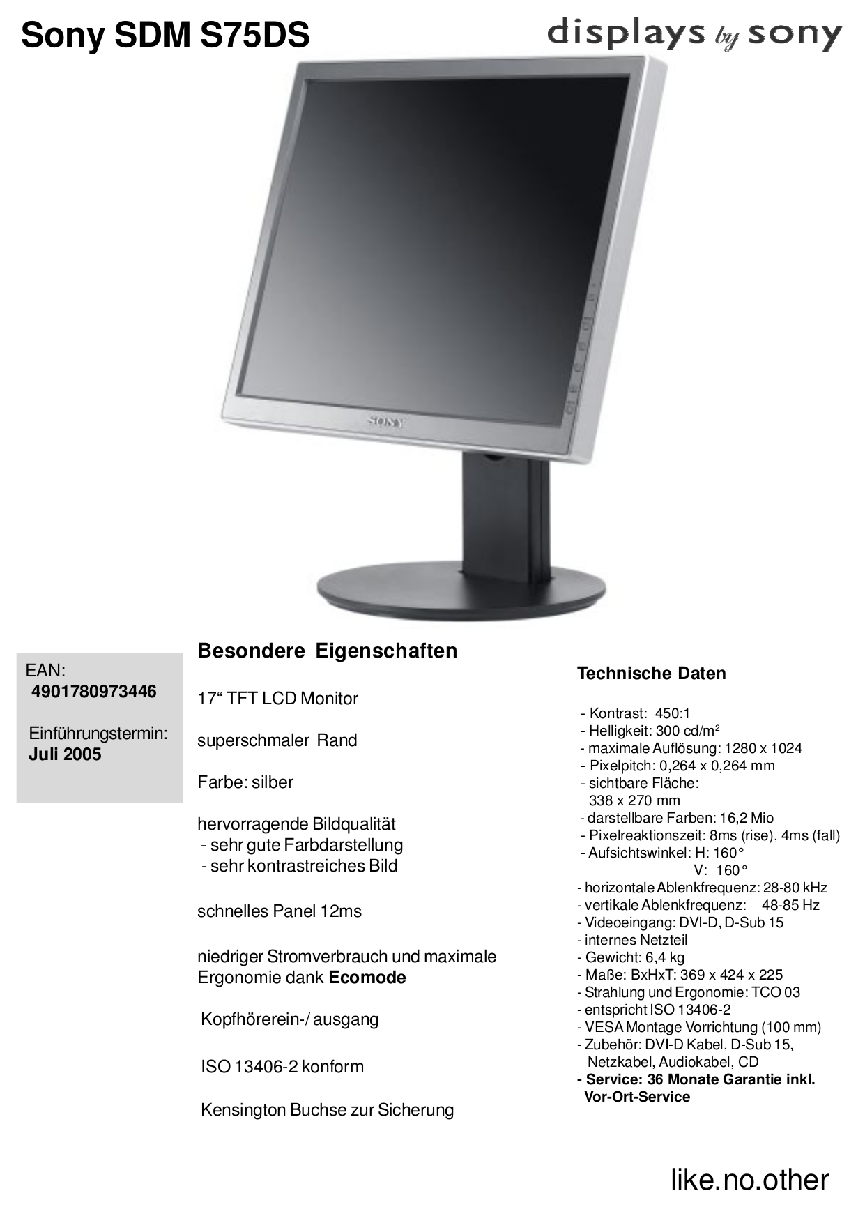 pdf for Sony Monitor SDM-S75DS manual