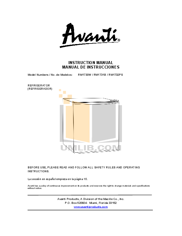 pdf for Avanti Refrigerator RM1731B manual