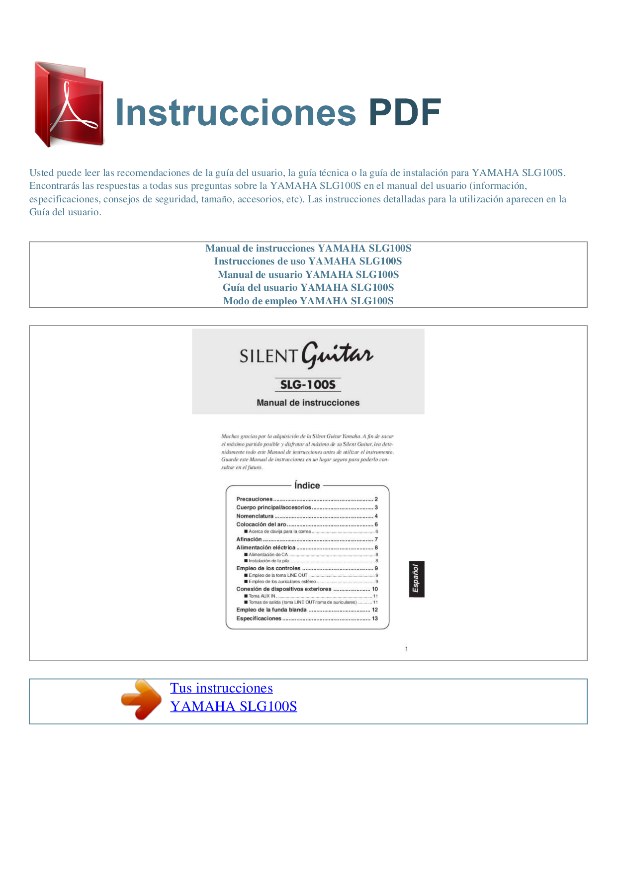 pdf for Yamaha Guitar SLG100S manual