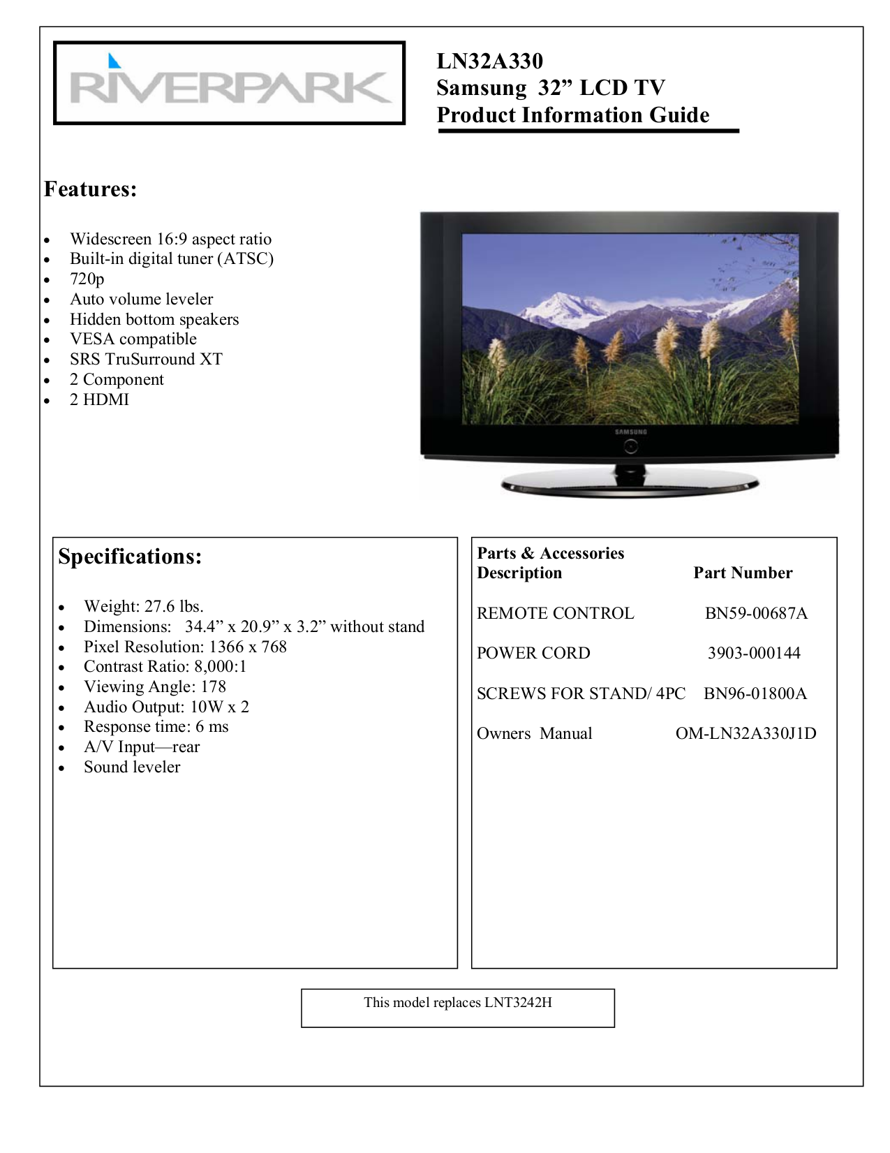 download free pdf for samsung ln32a330 tv manual rh umlib com Service ManualsOnline Owner's Manual