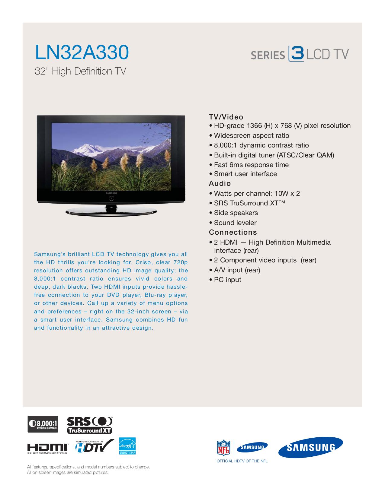 download free pdf for samsung ln32a330 tv manual rh umlib com Service Station Customer Service Books