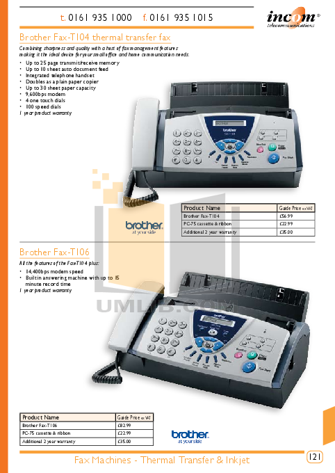 Brother Fax Machine FAX-2100M pdf page preview