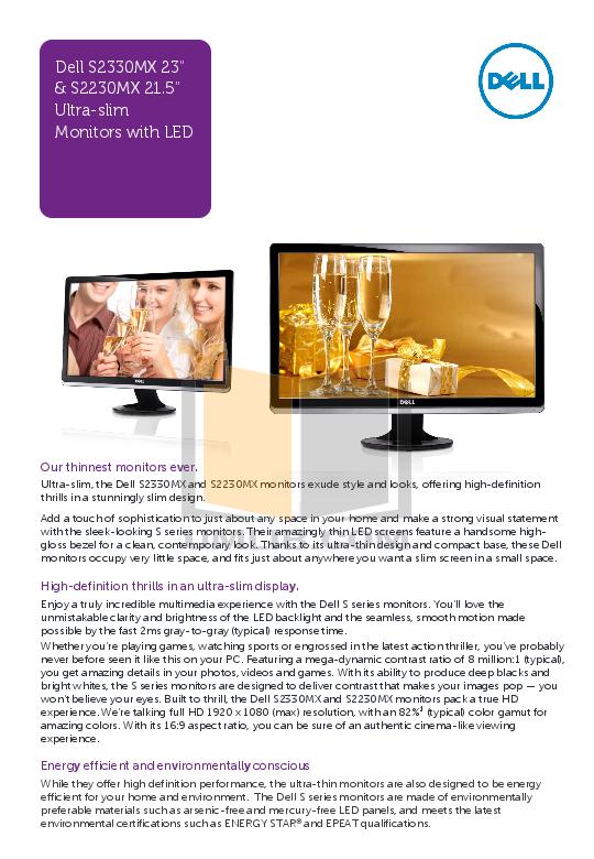 pdf for Dell Monitor S2209W manual