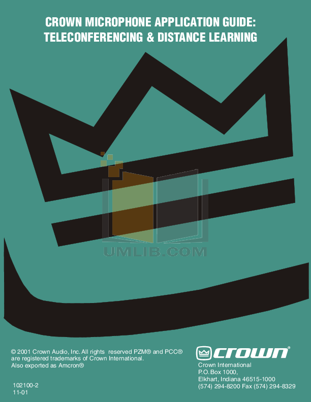 pdf for Crown Other MB-3 Microphones manual