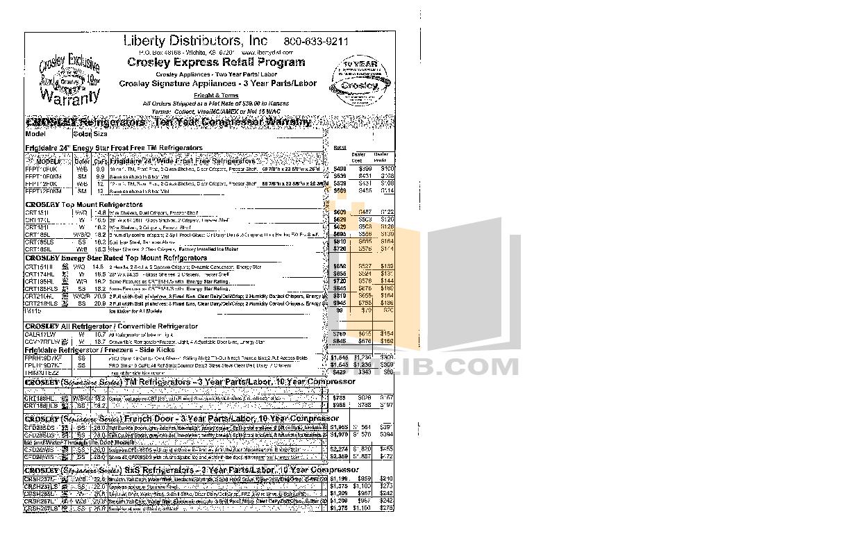 pdf for Frigidaire Refrigerator FFPH44M4L manual