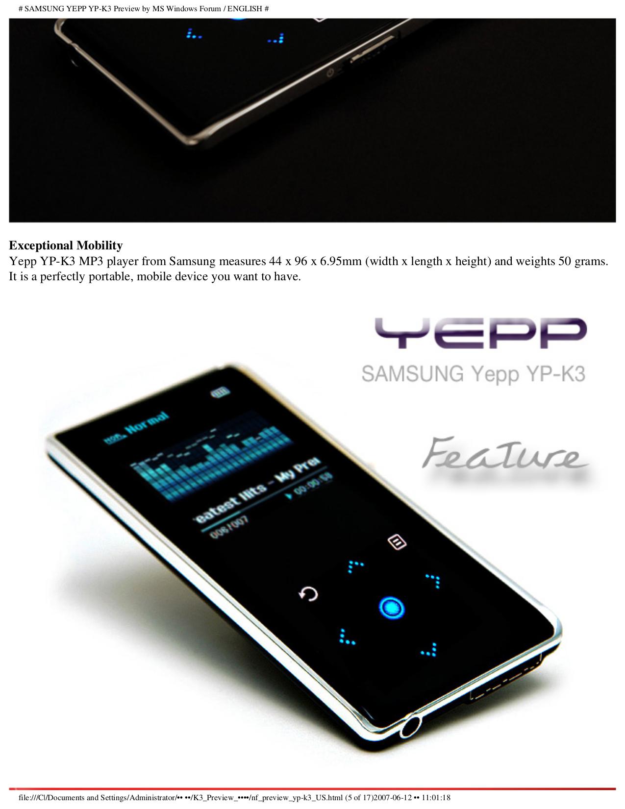 Pdf manual for samsung mp3 player yepp yp-30s.