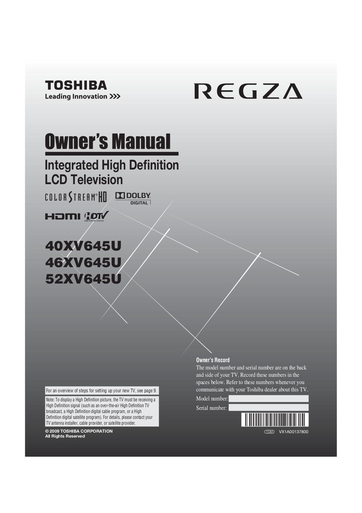 download free pdf for toshiba regza 52xv645u tv manual rh umlib com Toshiba TV Manual Online Toshiba Flat Screen TV Manual