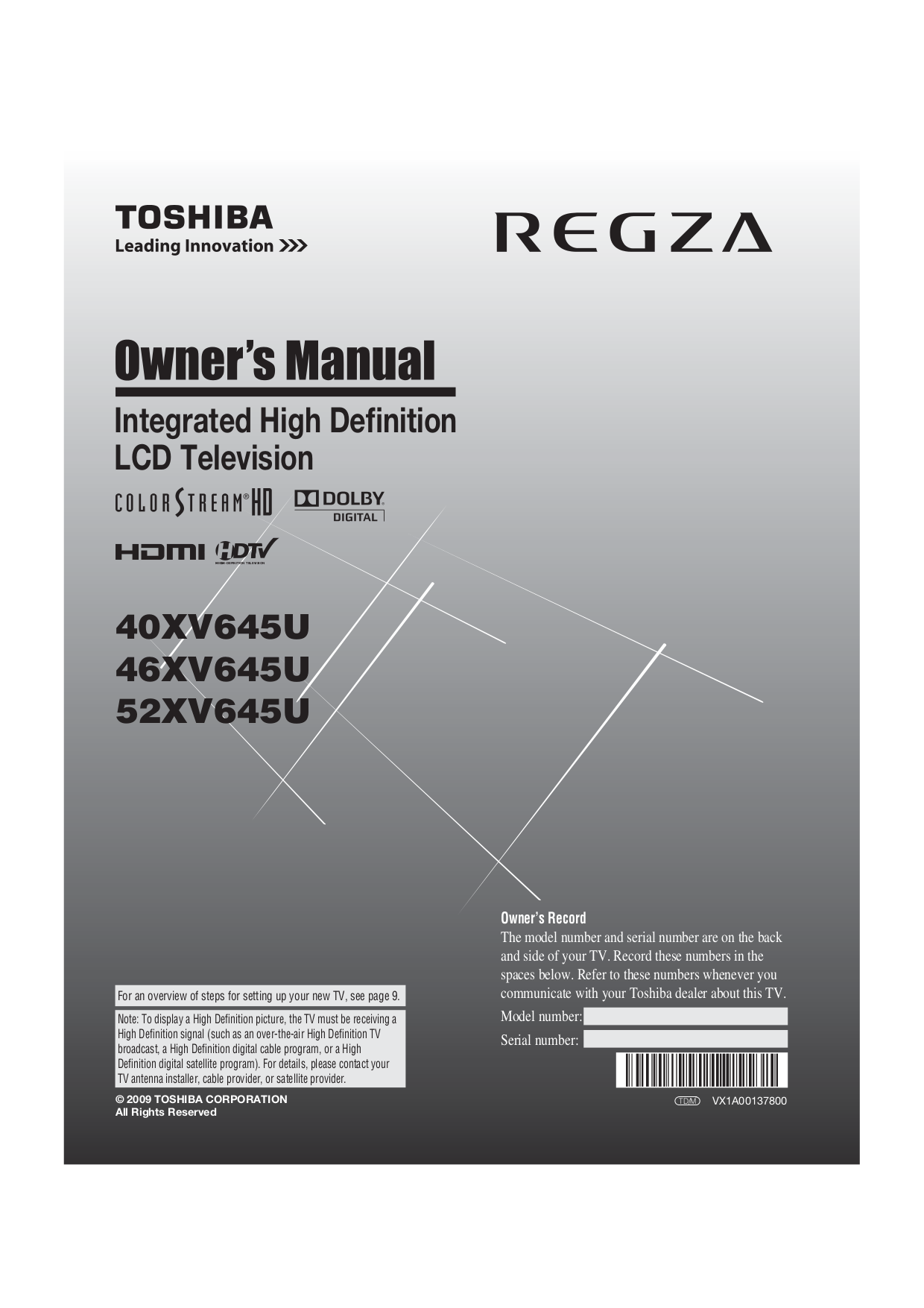 Toshiba model sa-735 receiver service manual | service manuals.