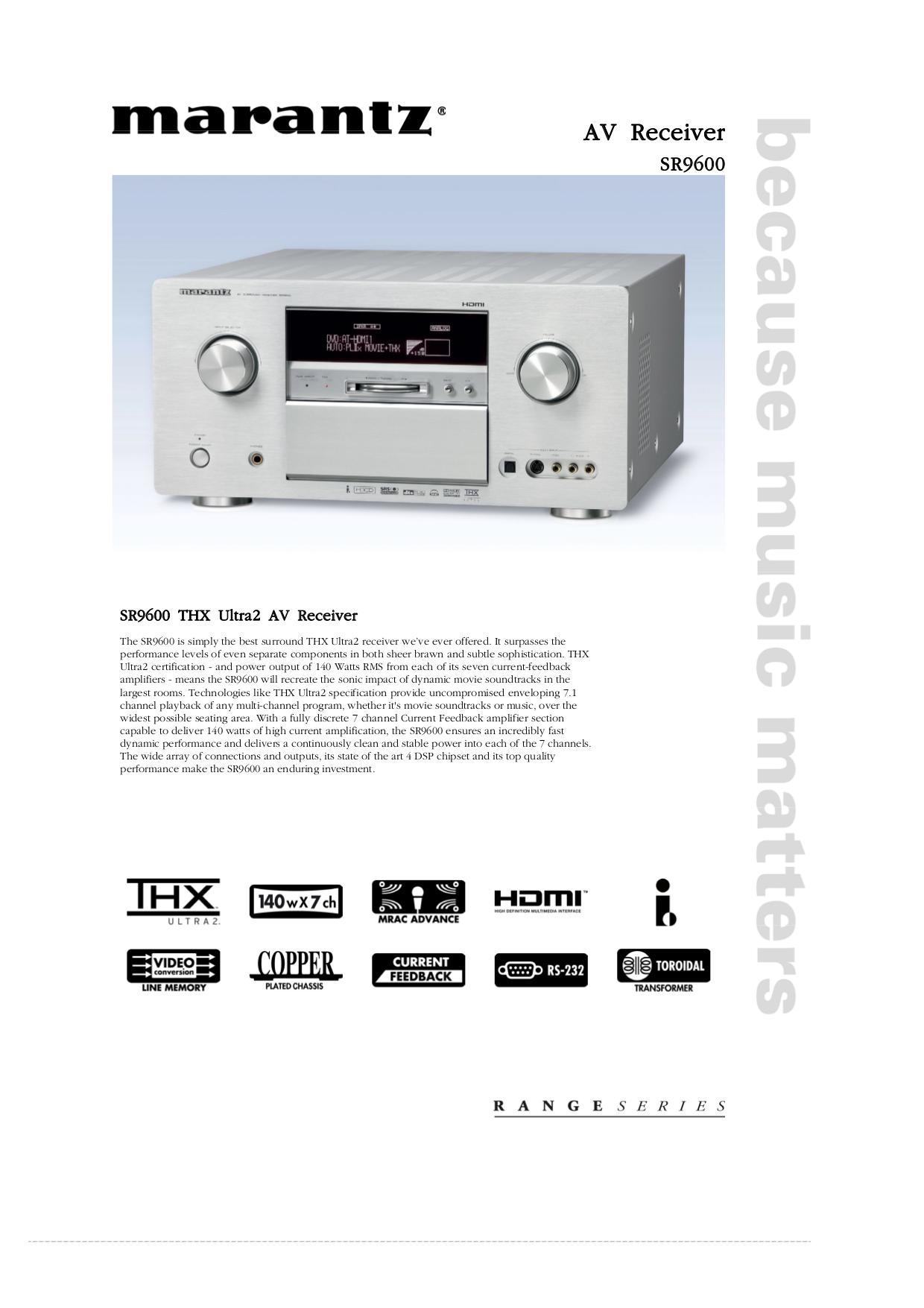 download free pdf for marantz sr9600 receiver manual rh umlib com marantz sr9600 user manual Marantz SR9600 THX Ultra2