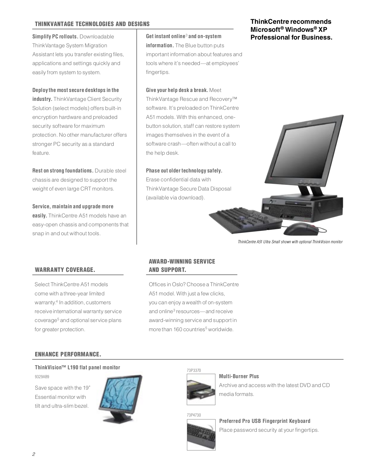 Lenovo Desktop ThinkCentre A52 8788 pdf page preview