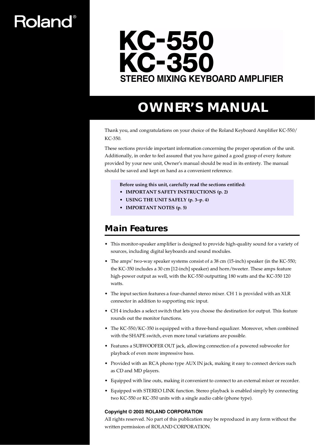 pdf for Roland Speaker CM-30 manual