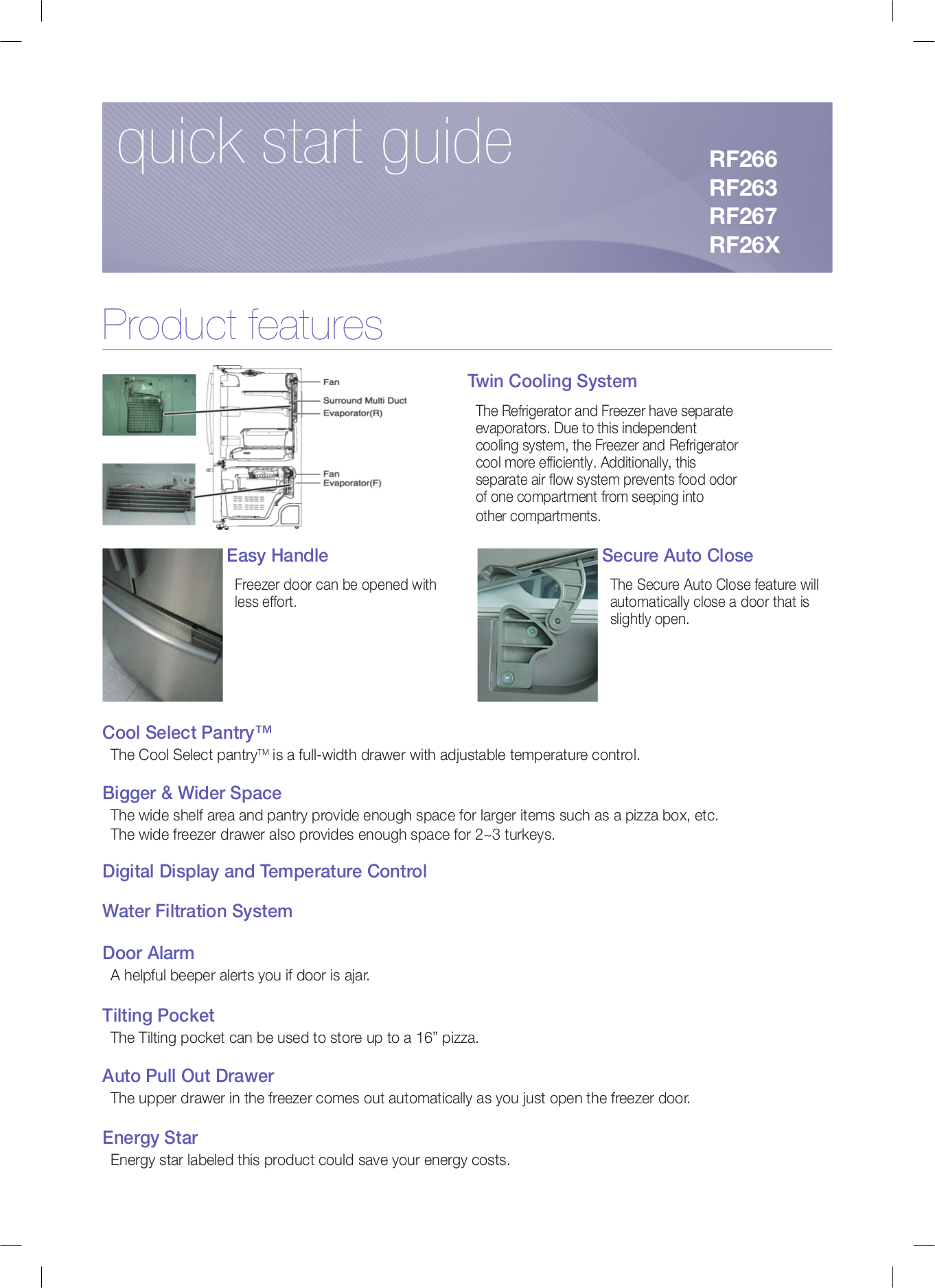 pdf for Samsung Refrigerator RF263AERS manual