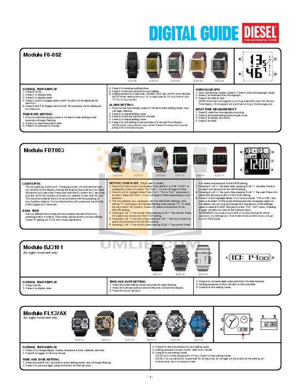 pdf for Diesel Watch DZ7168 manual
