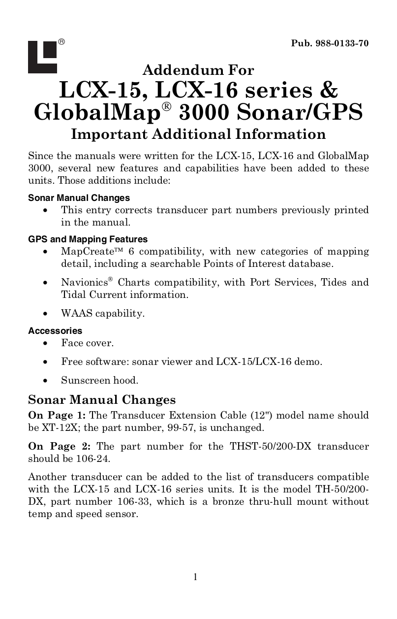 pdf for Lowrance GPS GlobalMap 3000MT manual