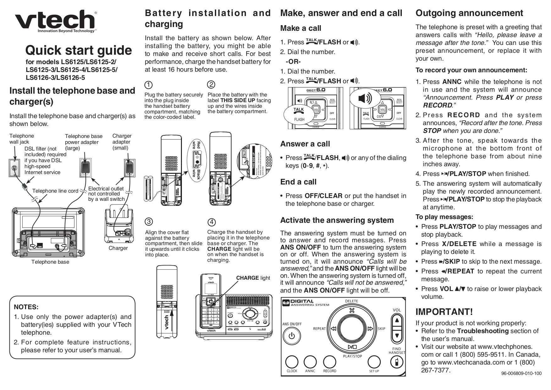 pdf for Vtech Telephone LS6125-2 manual