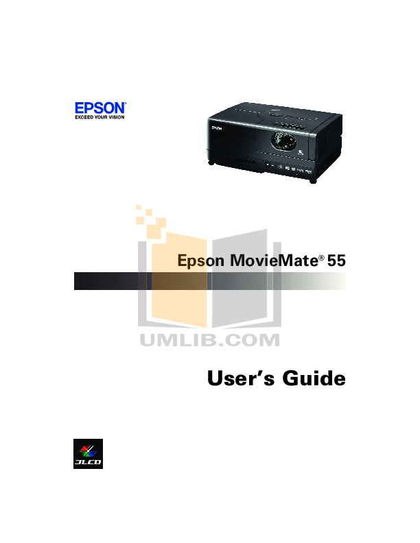 pdf for Epson Projector MovieMate 72 manual