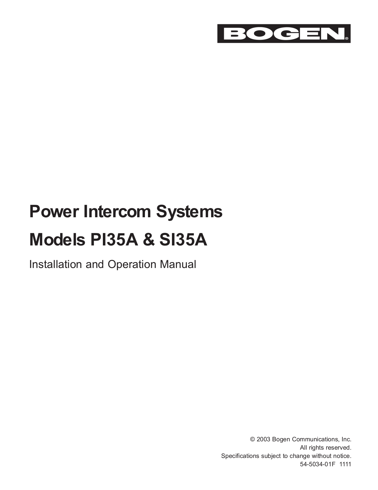 Download free pdf for Telex BP-351 Intercom System Other manual