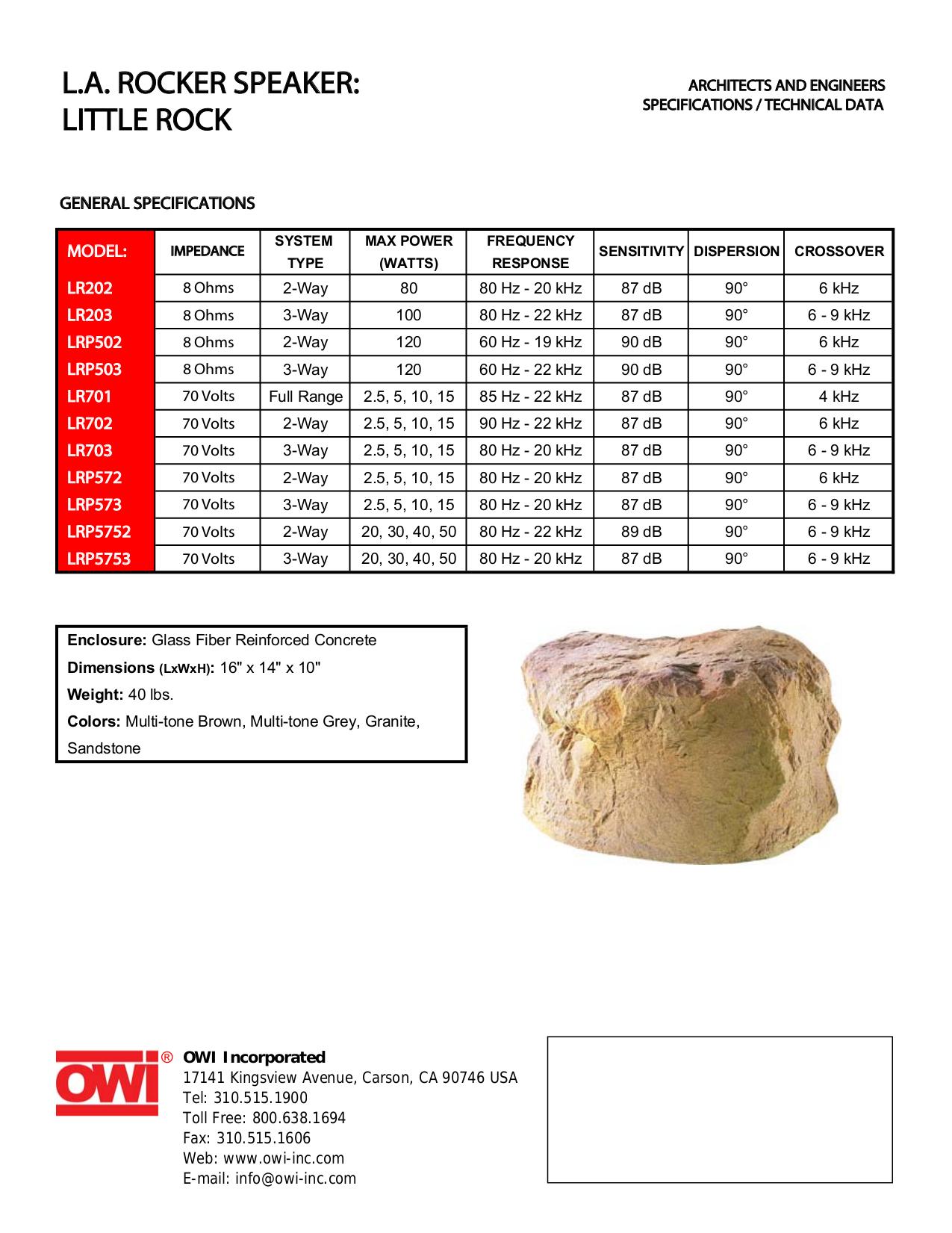 pdf for Owi Speaker LRP572 manual